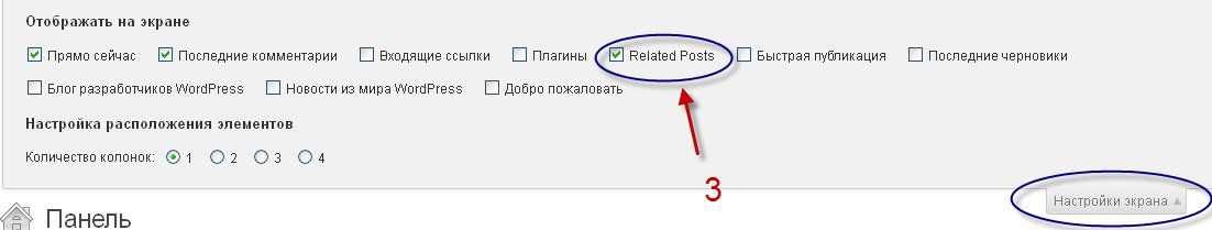 Настройка окна wordpress