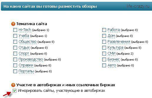Выбор тематики сайтов