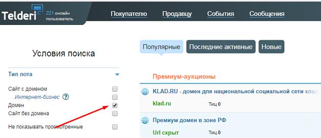 покупка домена на телдери