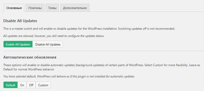 Настройки плагина Easy Updates Manager