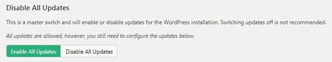 Включение/отключение всех обновлений wordpress