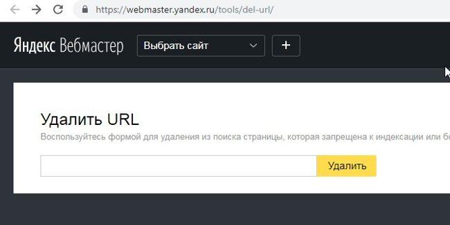 Удаление страницы из поиска Яндекс